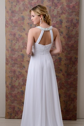 A-Line Chiffon Beaded Neck Wedding Dress With Ruching And Keyhole