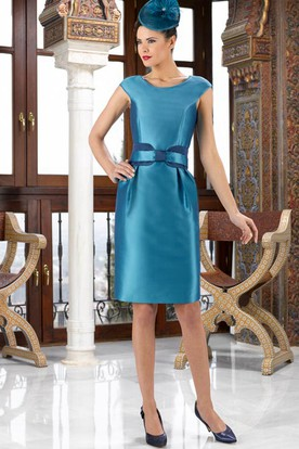 Knee-Length Scoop Neck Caped 3-4 Sleeve Satin Mother Of The Bride Dress