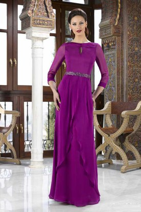 Jewel Neck Long Sleeve Jeweled Chiffon Mother Of The Bride Dress With Draping