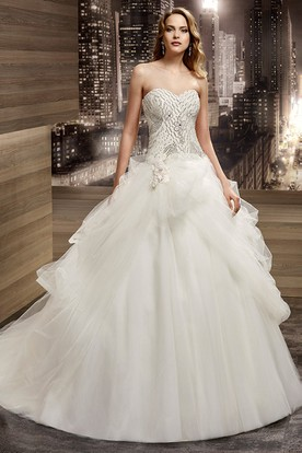 Sweetheart Lace-Up A-Line Bridal Gown With Beaded Bodice And Asymmetrical Ruching Of Overlayer