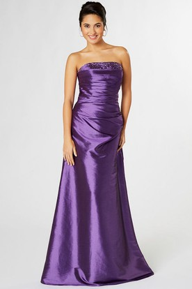 Strapless Beaded Satin Bridesmaid Dress With Ruching And Corset Back