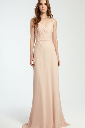 Spaghetti Sleeveless Ruched Chiffon Bridesmaid Dress With Appliques