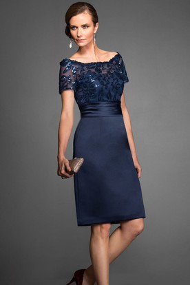 Short-Sleeved Knee-Length Mother Of The Bride Dress With Sequins And Illusion Style