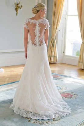 Sheath Cap-Sleeve Jewel-Neck Lace Wedding Dress With Illusion