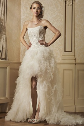 A-Line Strapless Ruffled Tulle Wedding Dress With Split Front