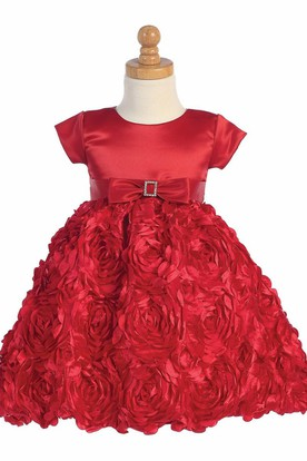 Tea-Length Floral Floral Bowed Satin Flower Girl Dress With Ribbon