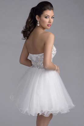A-Line Tulle Mini Prom Dress With Beaded Lace Bodice