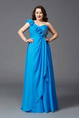 A-line Floor-length One-shoulder Chiffon Flower(s) Draping Beading Dress