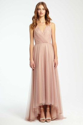 High-Low Criss-Cross V-Neck Sleeveless Tulle Bridesmaid Dress