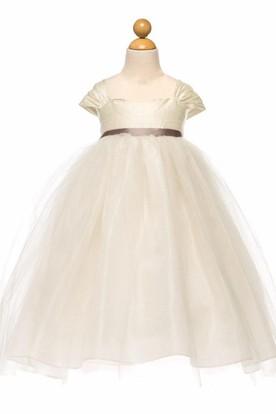 Tea-Length Empire Cap-Sleeve Ruched Tulle&Satin Flower Girl Dress