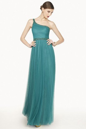 Single Strap A-Line Tulle Long Prom Dress With Beaded Neckline And Waist