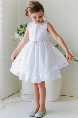 Tea-Length Floral Beaded Lace&Satin Flower Girl Dress With Sash