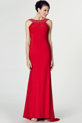 High-Low Beaded Scoop Neck Sleeveless Jersey Prom Dress With Brush Train