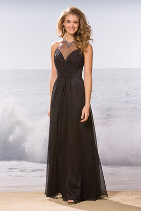 High Jeweled Neck A-Line Bridesmaid Dress With Pleats And Illusion Style