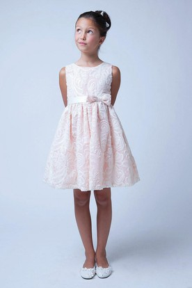 Knee-Length Embroideried Tiered Bowed Sequins&Satin Flower Girl Dress With Sash