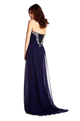 A-Line Sweetheart Sleeveless Maxi Beaded Chiffon Prom Dress With Lace-Up Back And Sweep Train