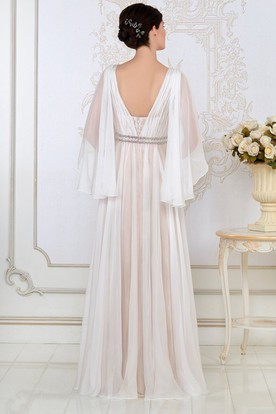 A-Line Poet-Sleeve Beaded V-Neck Floor-Length Tulle Evening Dress With Ruching