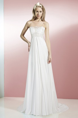 A-Line Spaghetti Floor-Length Sleeveless Lace Chiffon Wedding Dress With Appliques