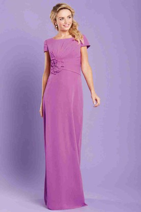 Pencil Floral Long Bateau-Neck Short-Sleeve Chiffon Bridesmaid Dress