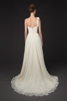 A-Line One-Shoulder Criss-Cross Sleeveless Chiffon Wedding Dress