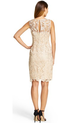 Mini Sheath Appliqued Sleeveless Bateau Neck Lace Bridesmaid Dress With Keyhole