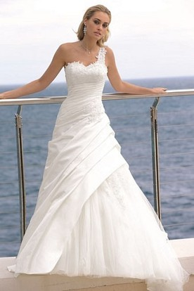 A-Line Ruched Floor-Length One-Shoulder Sleeveless Satin&Tulle Wedding Dress With Appliques