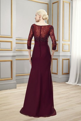 Bateau Neck 3-4 Sleeve Appliqued Chiffon Formal Dress