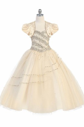 Bolero Beaded Tiered Tulle&Lace Flower Girl Dress