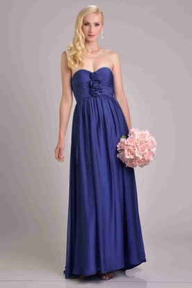 Chiffon Pleated Dress Featuring Sweetheart Neckline And Flowers