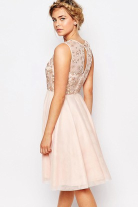 Sleeveless Scoop-Neck Ankle-Length Appliqued Chiffon Bridesmaid Dress With Beading