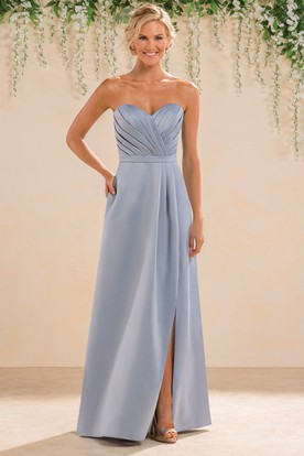 Sweetheart A-Line Satin Bridesmaid Dress With Pockets And Keyhole Back