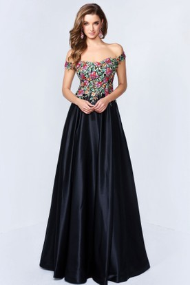 A-Line Off-The-Shoulder Satin Keyhole Dress With Beading And Embroidery