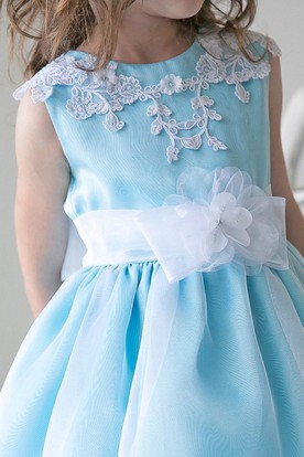 Split-Front Tea-Length Beaded Appliqued Lace&Sequins Flower Girl Dress With Tiers