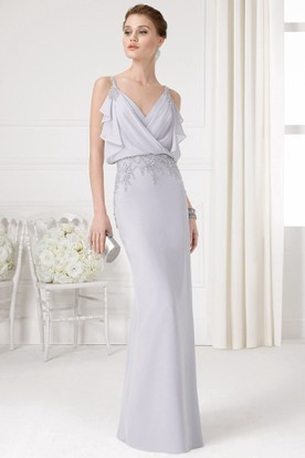 Sheath Beaded Sleeveless V-Neck Chiffon Prom Dress