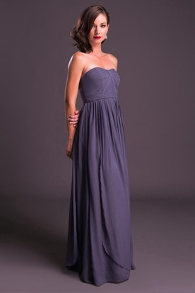 Strapless Ruched Chiffon Bridesmaid Dress With Pleats