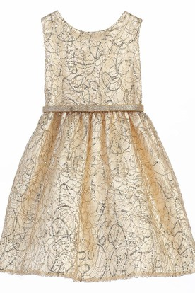 Tea-Length Tiered Bowed Sequins&Satin Flower Girl Dress With Embroidery