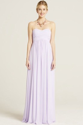 Maxi Sweetheart Ruched Empire Sleeveless Chiffon Bridesmaid Dress