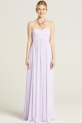Maxi Sweetheart Ruched Empire Sleeveless Chiffon Bridesmaid Dress