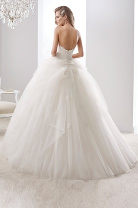 Strapless A-line Ruching Wedding Gown with Appliques Bodice and Open Back