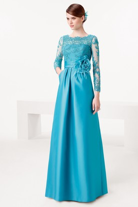 A-Line 3-4 Sleeve Appliqued Bateau Neck Satin Prom Dress