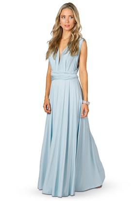 Sleeveless V-Neck Chiffon Convertible Bridesmaid Dress With Ribbon And Straps