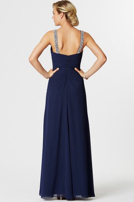 Sleeveless Ruched Strapped Chiffon Bridesmaid Dress With Beading And Draping