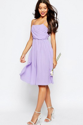 A-Line Knee-Length Sleeveless Pleated Spaghetti Chiffon Bridesmaid Dress