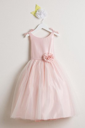Bowed Sleeveless Tulle&Satin Flower Girl Dress