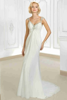 Sheath Cap Sleeve Beaded Empire V-Neck Chiffon Wedding Dress