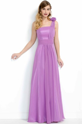 Sleeveless One-Shoulder Maxi Organza&Chiffon Bridesmaid Dress With Flower