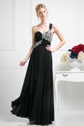 A-Line One-Shoulder Sleeveless Chiffon Dress With Beading And Draping