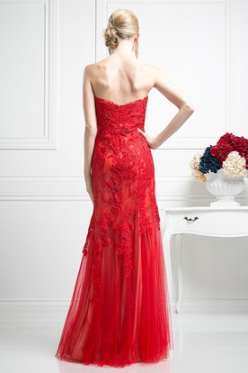 Sheath Strapless Sleeveless Lace Tulle Low-V Back Dress With Appliques And Beading