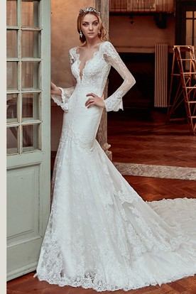 Long-Sleeve Lace Court-Train Wedding Dress With Deep-V Neck and Open Back