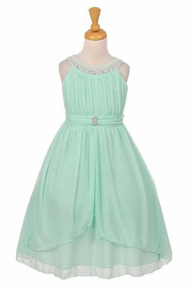Peplum Tea-Length Tiered Pleated Chiffon&Tulle Flower Girl Dress With Sash